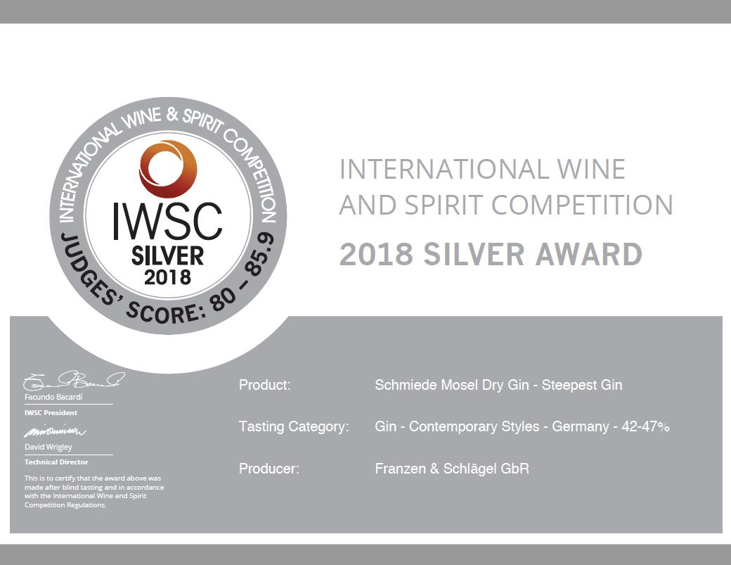 Schmiede Gin IWSC Silbermedaille